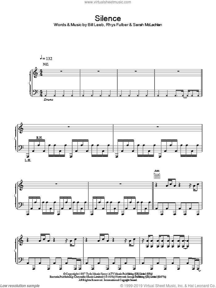 Silence sheet music for voice, piano or guitar by Delerium And Sarah McLachlan and Sarah McLachlan. Score Image Preview.