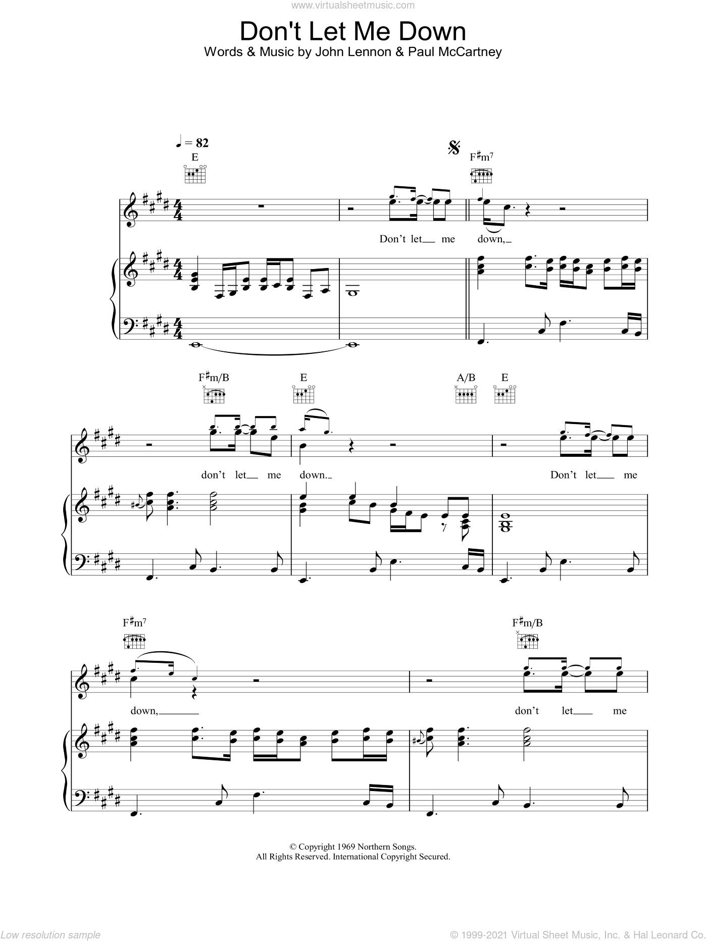 Don't Let Me Down sheet music for voice, piano or guitar by The Beatles, John Lennon and Paul McCartney, intermediate skill level