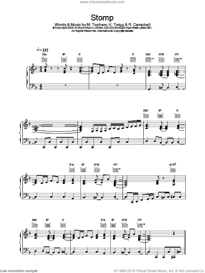 Stomp sheet music for voice, piano or guitar by Steps
