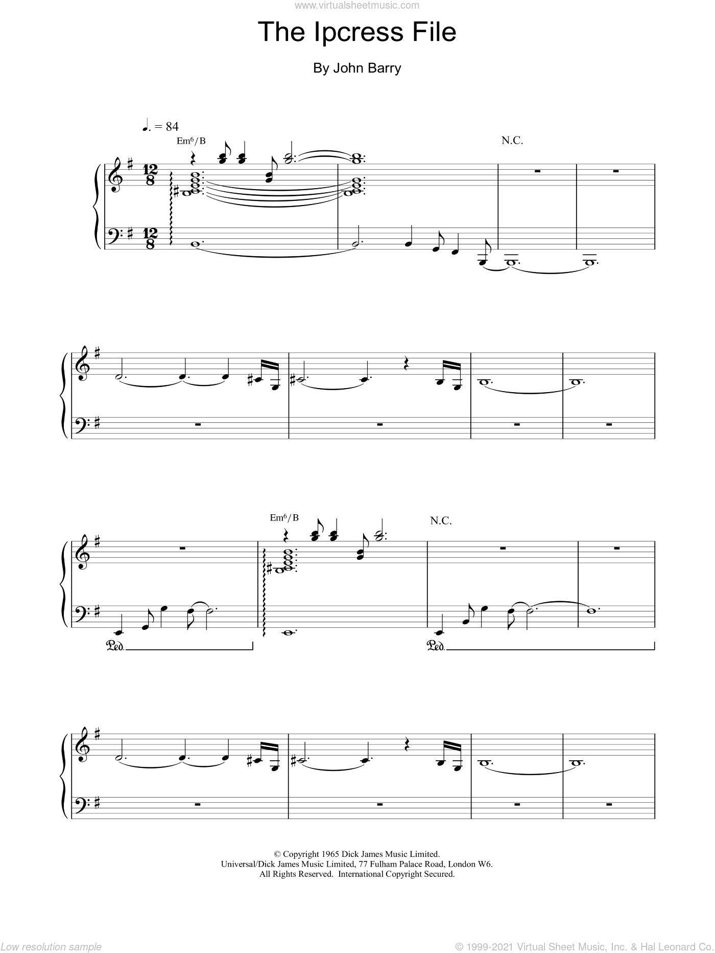 The Ipcress File sheet music for piano solo by John Barry, intermediate skill level