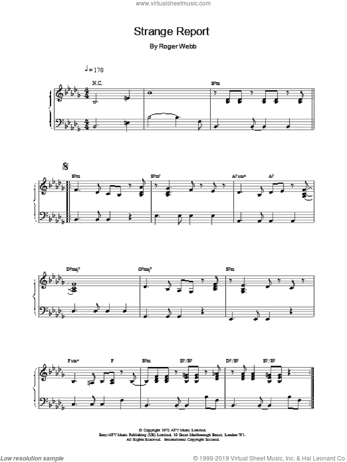 Strange Report sheet music for piano solo by Roger Webb. Score Image Preview.