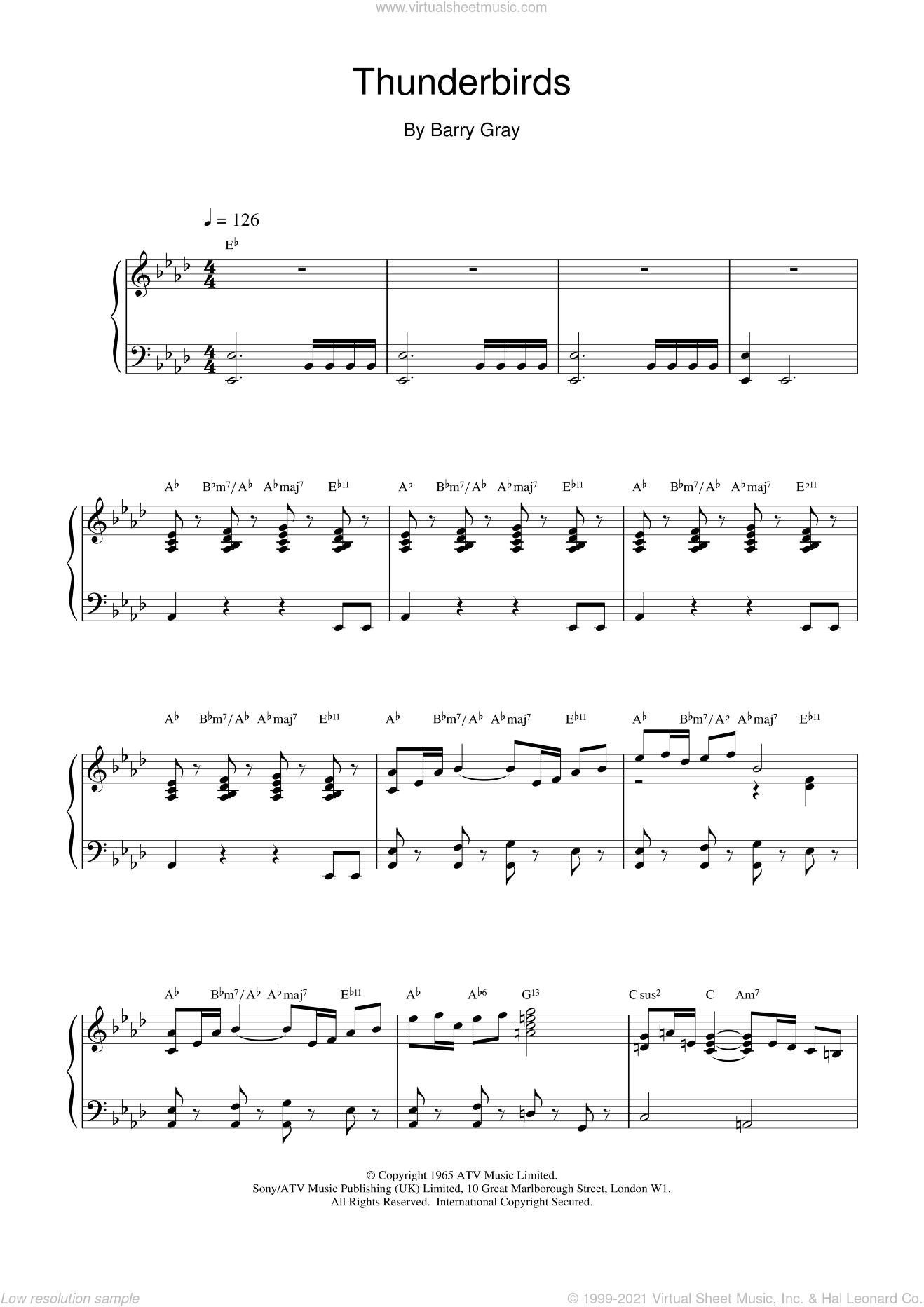 Thunderbirds sheet music for piano solo by Barry Gray