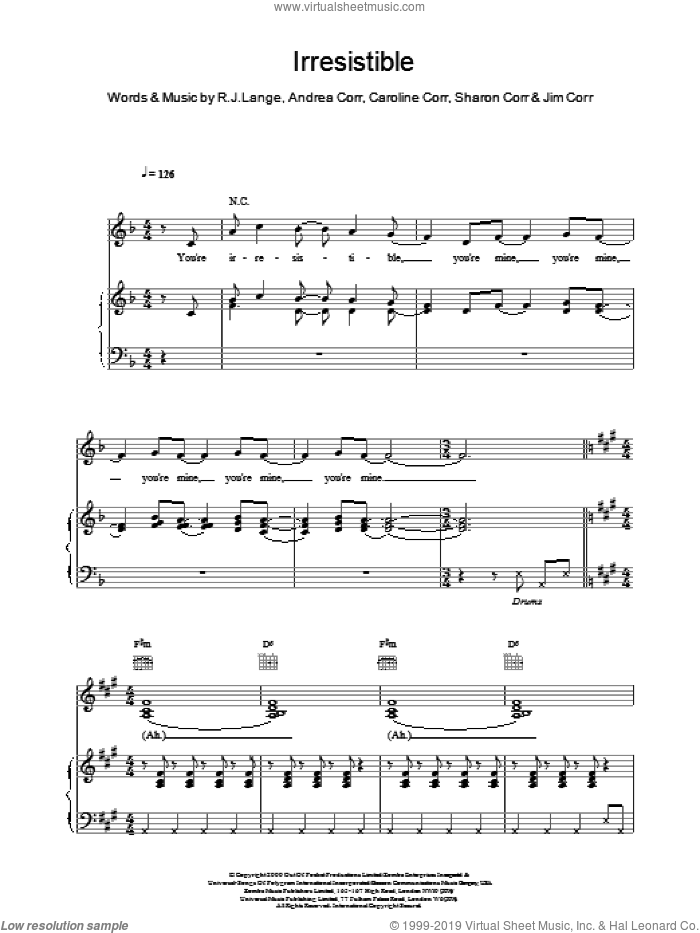Irresistible sheet music for voice, piano or guitar by The Corrs. Score Image Preview.