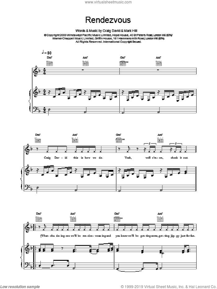 Rendezvous sheet music for voice, piano or guitar by Craig David. Score Image Preview.