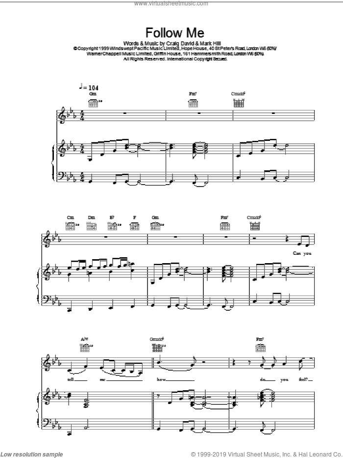 Follow Me sheet music for voice, piano or guitar by Craig David, intermediate skill level