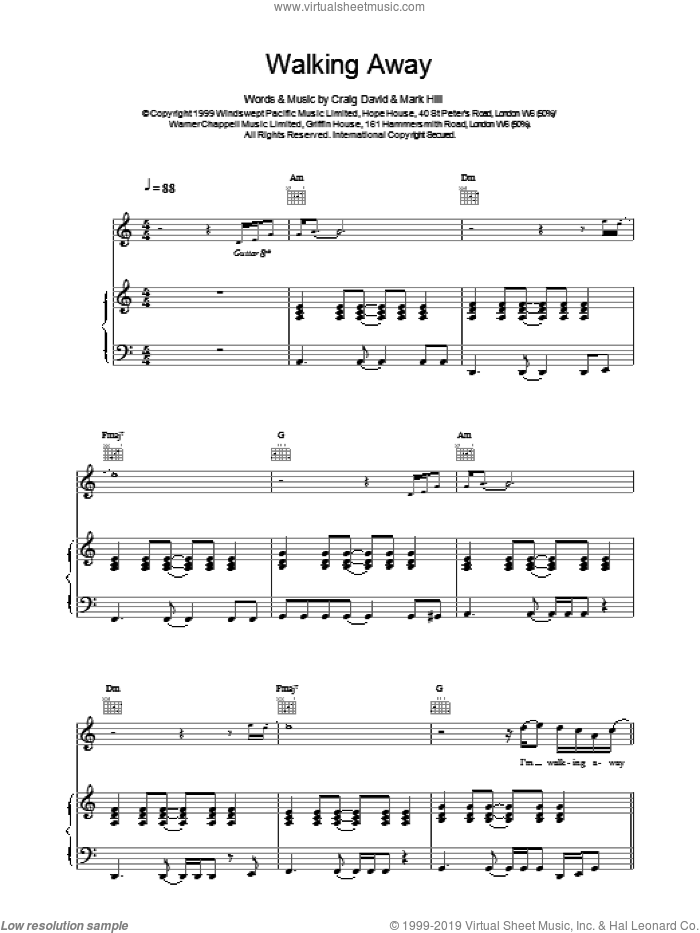 Walking Away sheet music for voice, piano or guitar by Craig David. Score Image Preview.