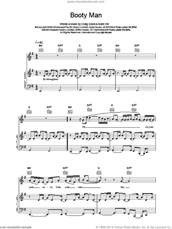 Booty Man sheet music for voice, piano or guitar by Craig David, intermediate skill level
