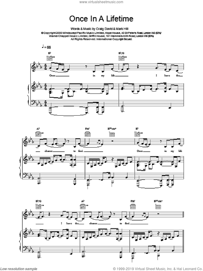 Once In A Lifetime sheet music for voice, piano or guitar by Craig David. Score Image Preview.