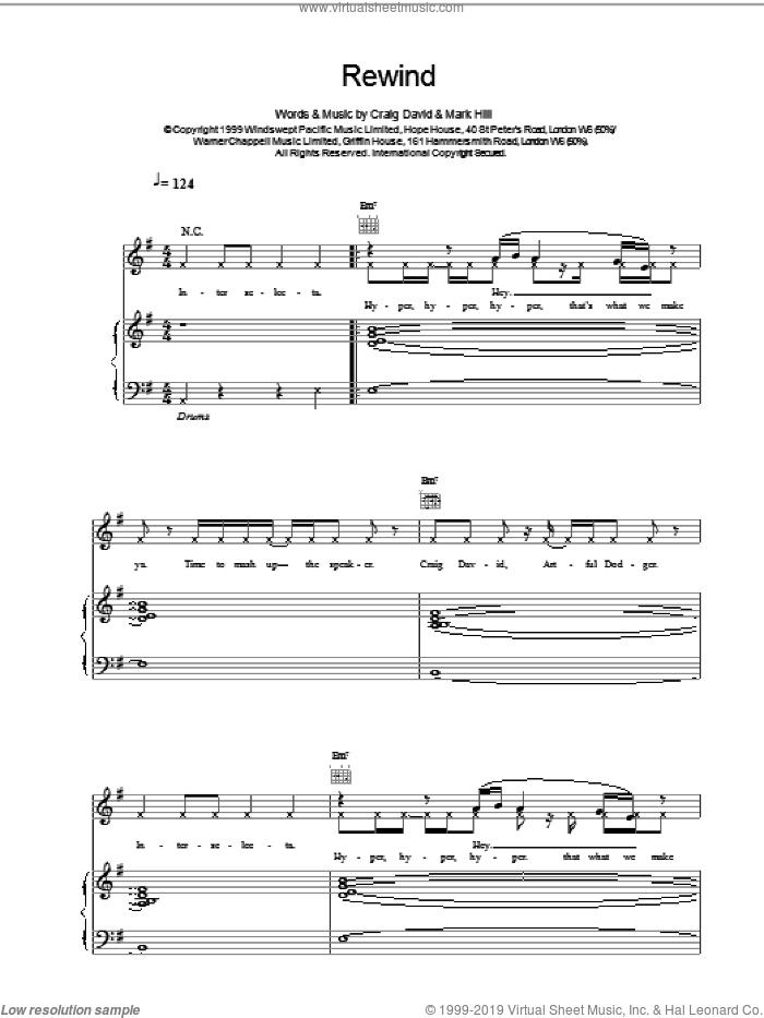 Rewind sheet music for voice, piano or guitar by Craig David, intermediate