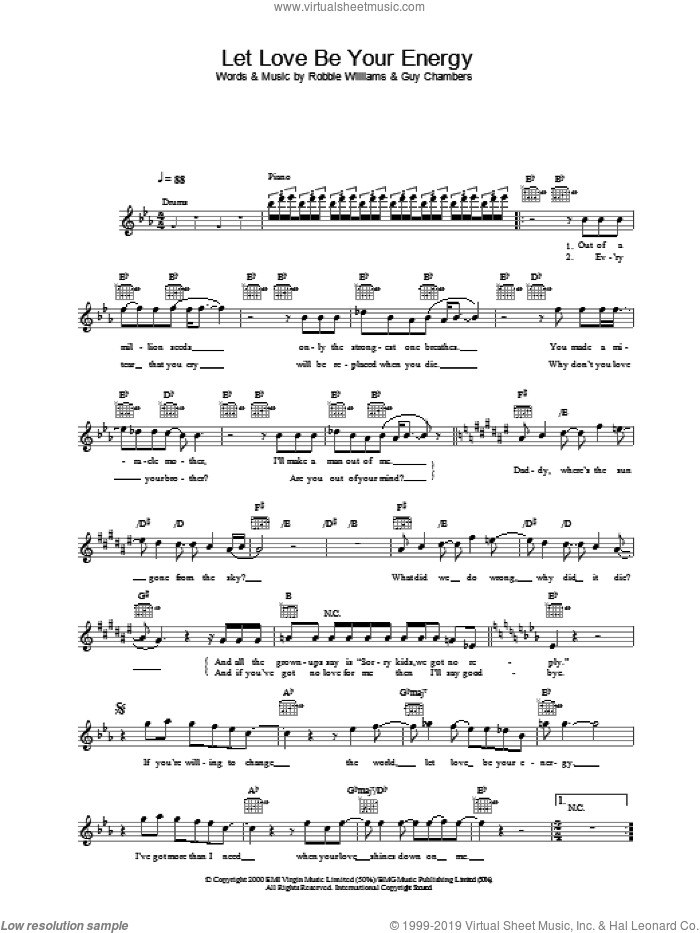 Let Love Be Your Energy sheet music for voice and other instruments (fake book) by Robbie Williams, intermediate voice. Score Image Preview.