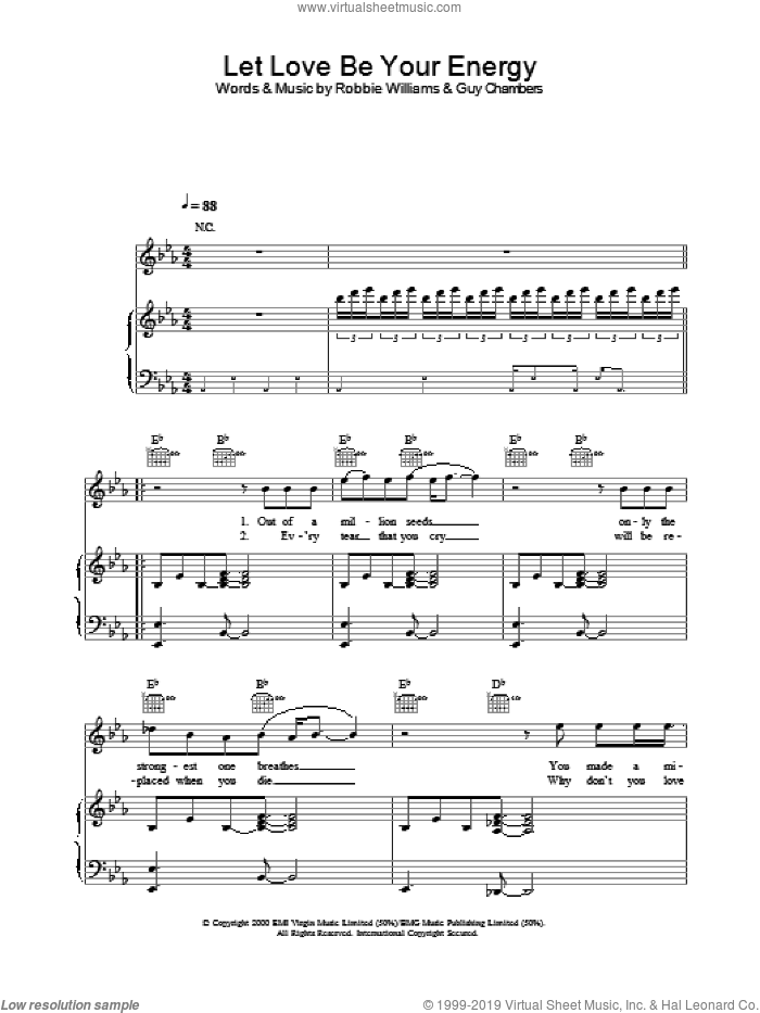 Let Love Be Your Energy sheet music for voice, piano or guitar by Robbie Williams, intermediate skill level
