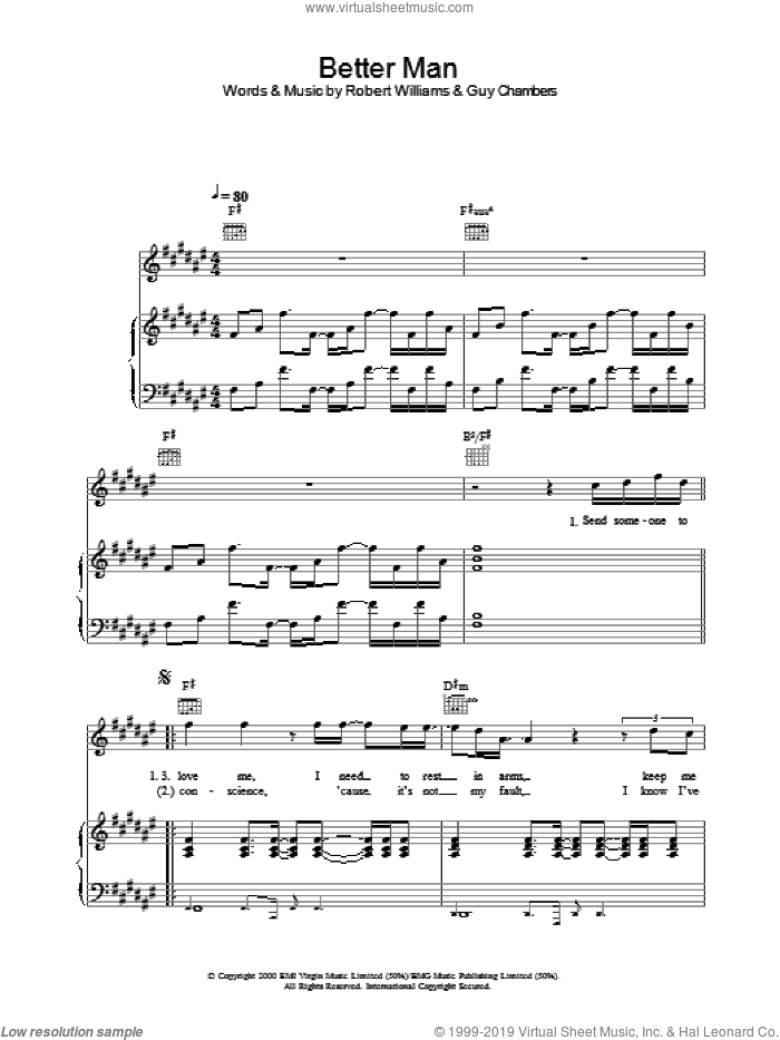 Better Man sheet music for voice, piano or guitar by Robbie Williams, intermediate skill level
