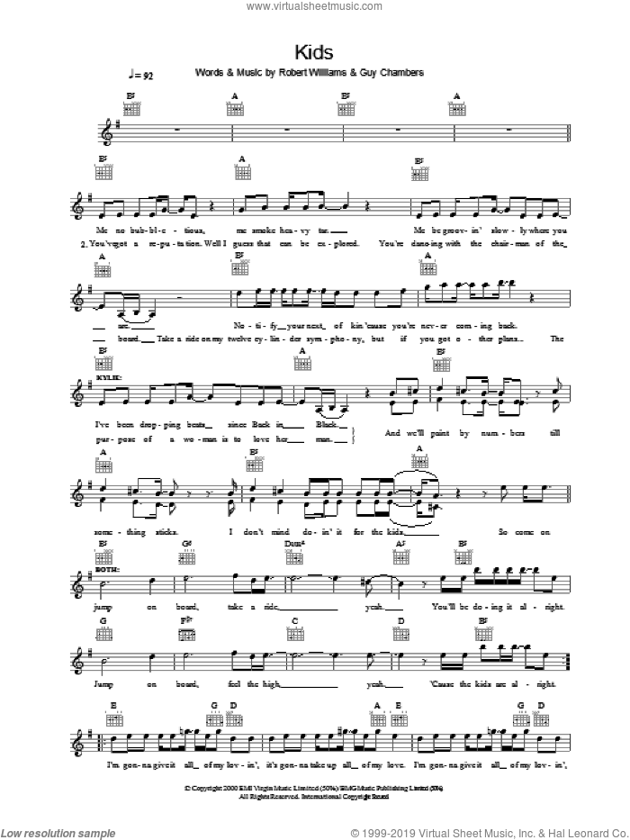 Kids sheet music for voice and other instruments (fake book) by Robbie Williams and Kylie Minogue, intermediate skill level
