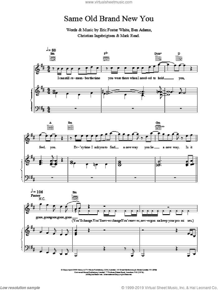 Same Old Brand New You sheet music for voice, piano or guitar by A1, intermediate skill level