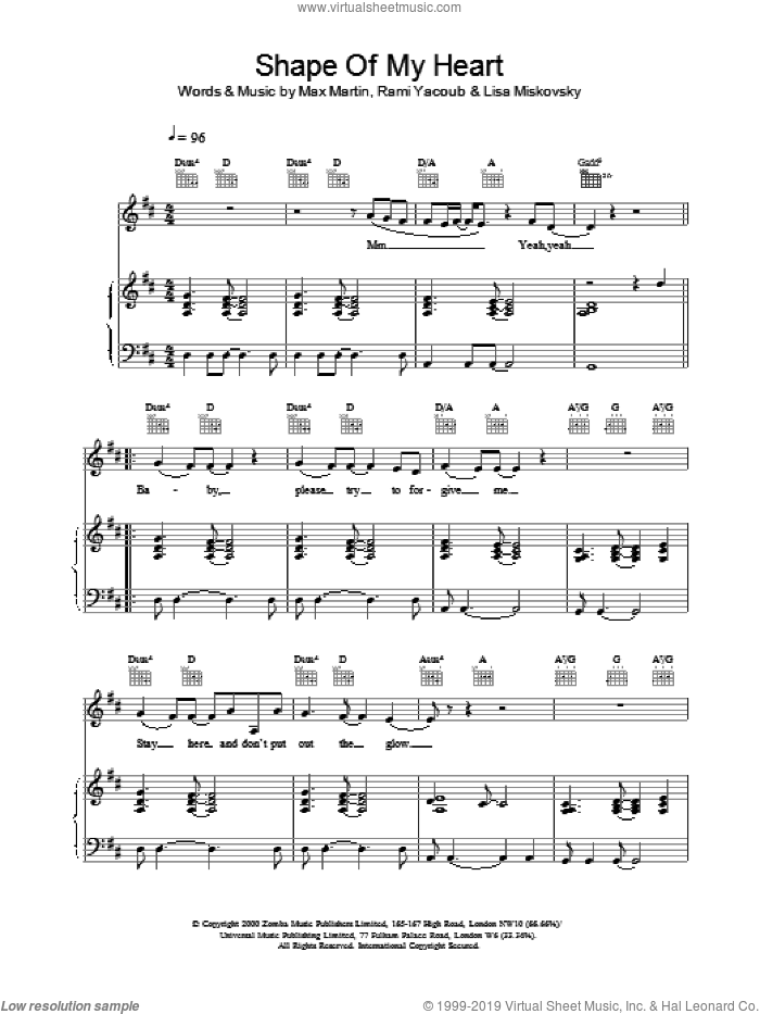 Shape Of My Heart sheet music for voice, piano or guitar by Backstreet Boys. Score Image Preview.