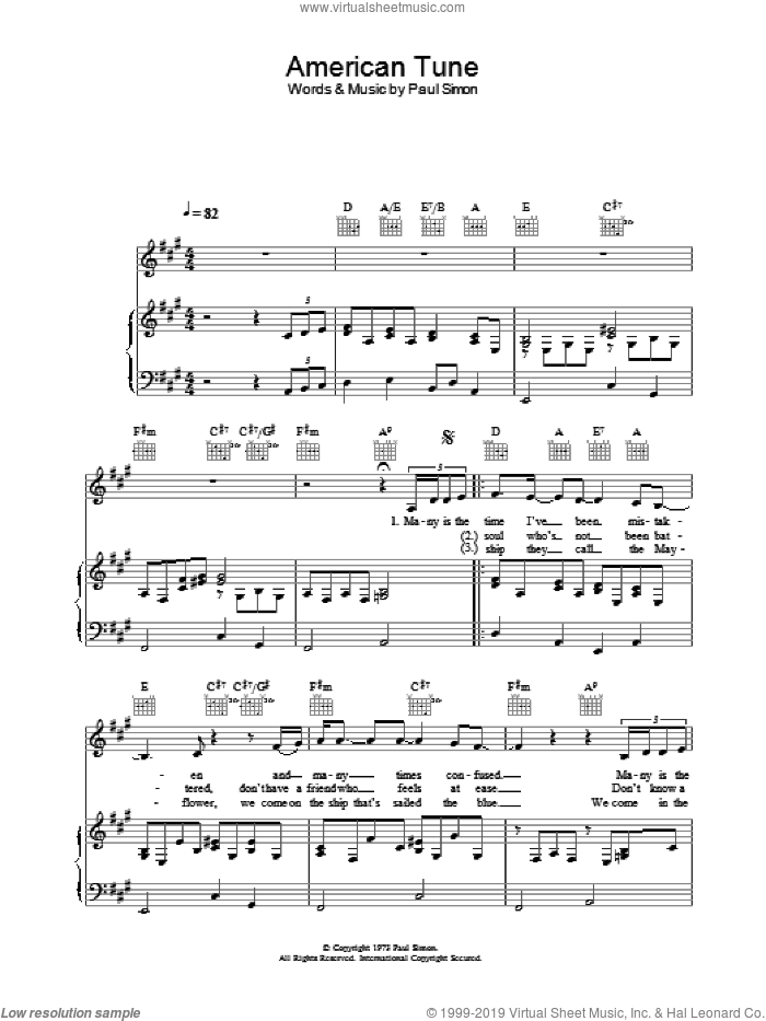 American Tune sheet music for voice, piano or guitar by Eva Cassidy and Paul Simon, intermediate