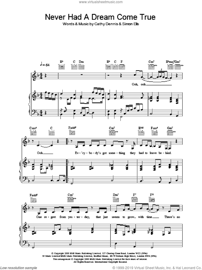 Never Had A Dream Come True sheet music for voice, piano or guitar by S Club 7 and Cathy Dennis. Score Image Preview.