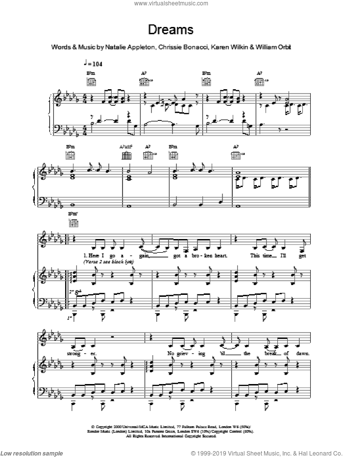 Dreams sheet music for voice, piano or guitar by All Saints, intermediate skill level