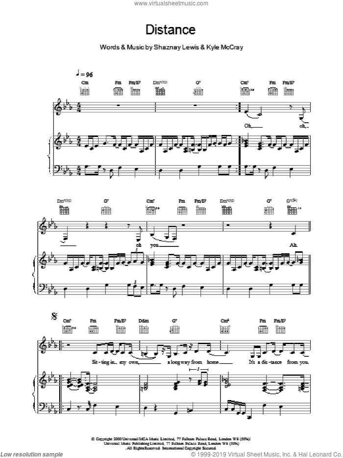 Distance sheet music for voice, piano or guitar by All Saints. Score Image Preview.
