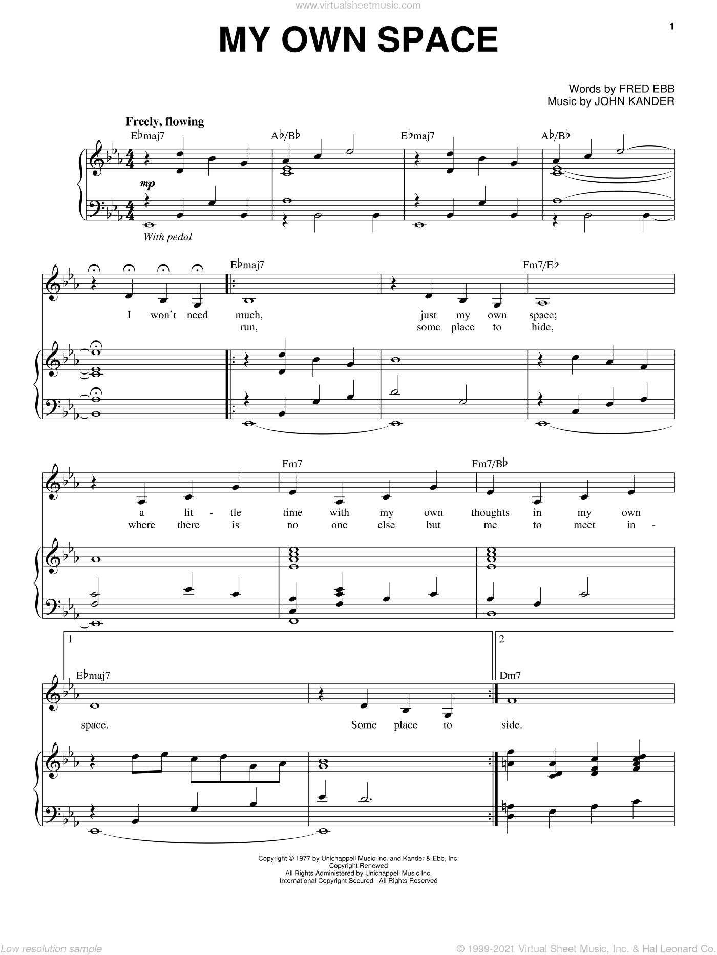 My Own Space sheet music for voice and piano by John Kander, Kander & Ebb and Fred Ebb. Score Image Preview.