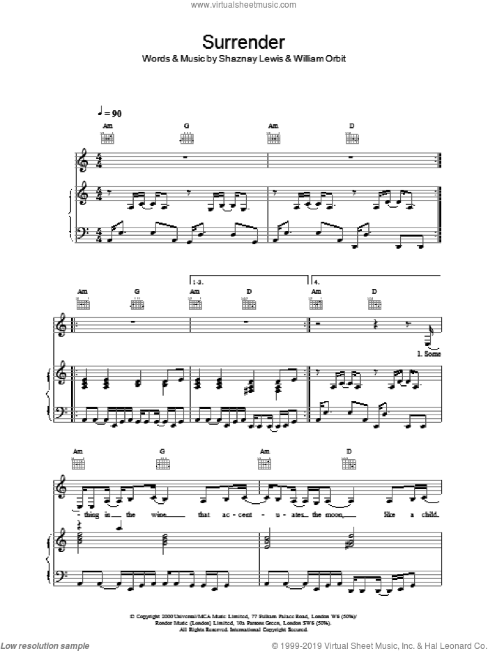 Surrender sheet music for voice, piano or guitar by All Saints. Score Image Preview.