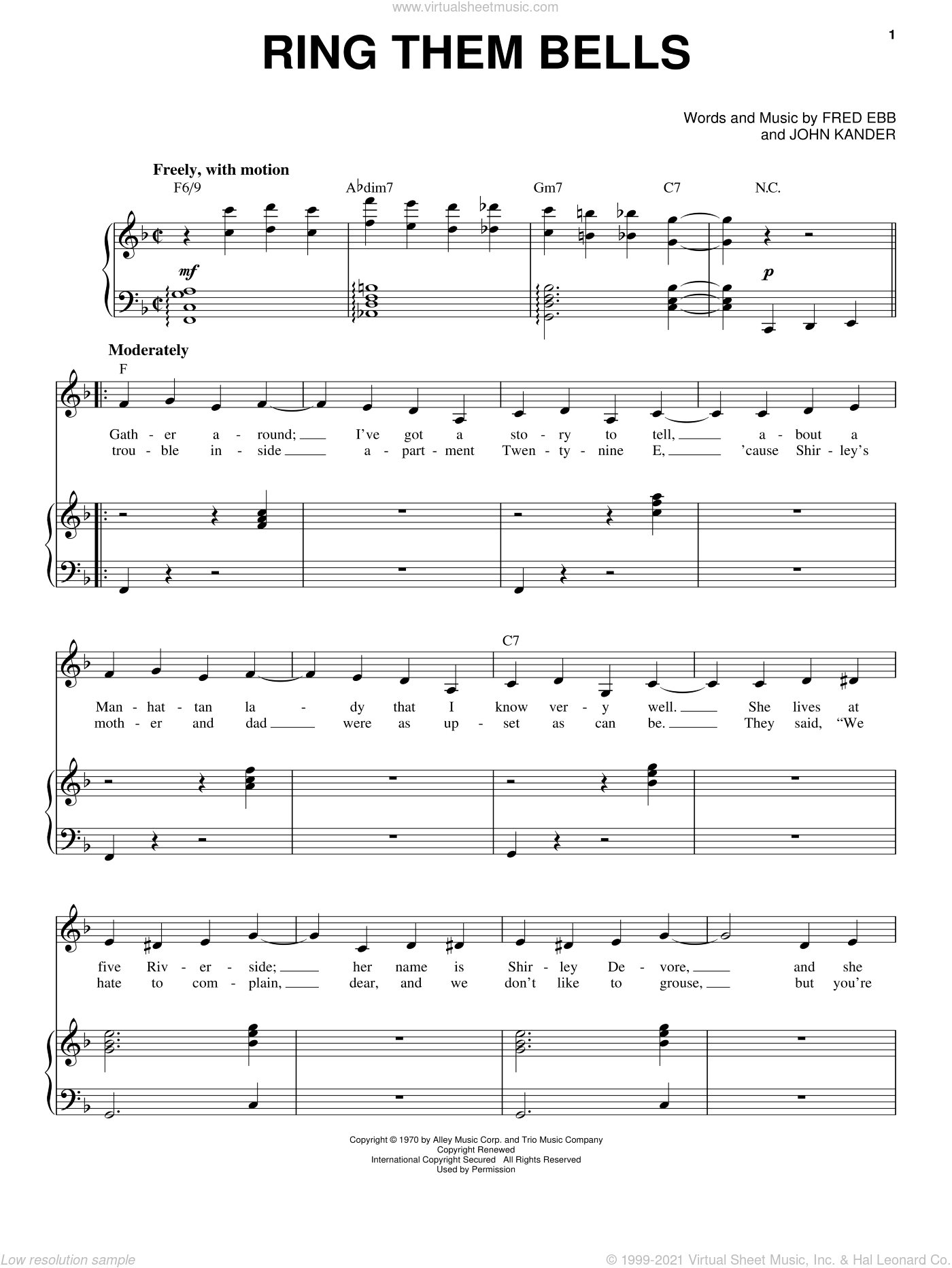Ring Them Bells sheet music for voice and piano by Liza Minnelli, Kander & Ebb, Fred Ebb and John Kander, intermediate skill level