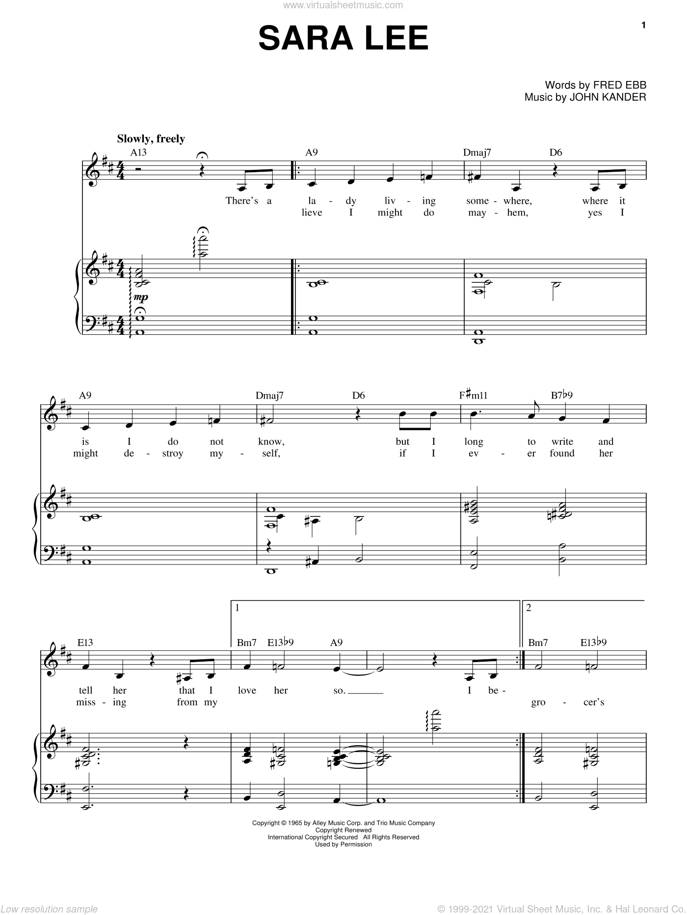 Sara Lee sheet music for voice and piano by John Kander