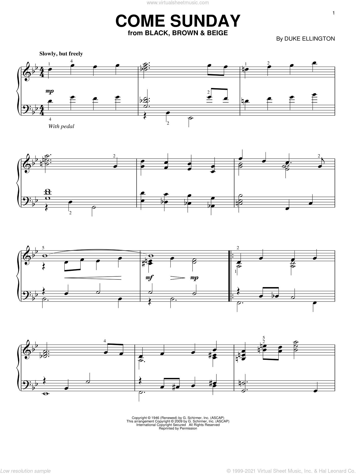 Come Sunday sheet music for piano solo by Duke Ellington, intermediate skill level