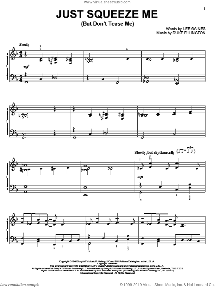 Just Squeeze Me (But Don't Tease Me) sheet music for piano solo by Lee Gaines