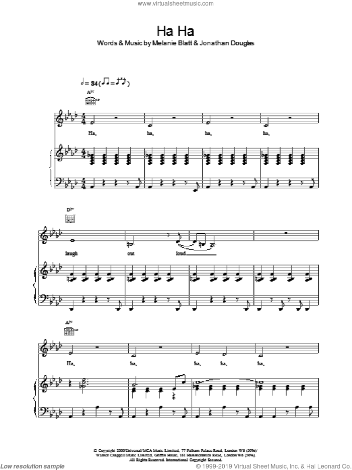 Ha Ha sheet music for voice, piano or guitar by All Saints. Score Image Preview.