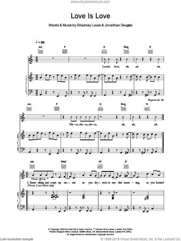 Love Is Love sheet music for voice, piano or guitar by All Saints. Score Image Preview.