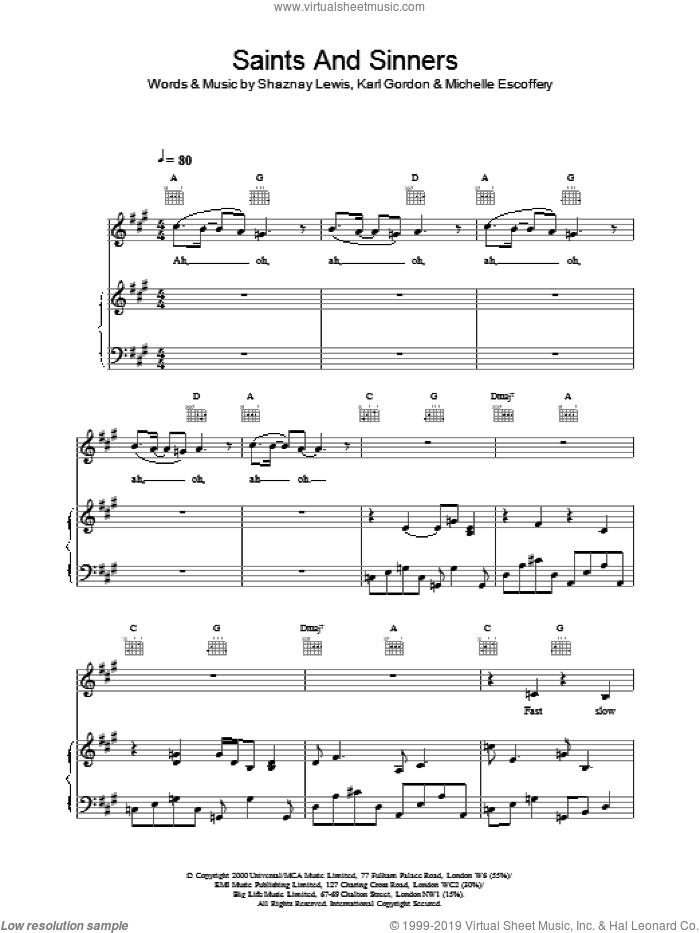 Saints And Sinners sheet music for voice, piano or guitar by All Saints. Score Image Preview.