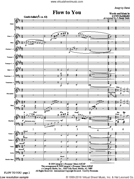 Flow To You (COMPLETE) sheet music for orchestra by Lynn DeShazo and J. Daniel Smith. Score Image Preview.