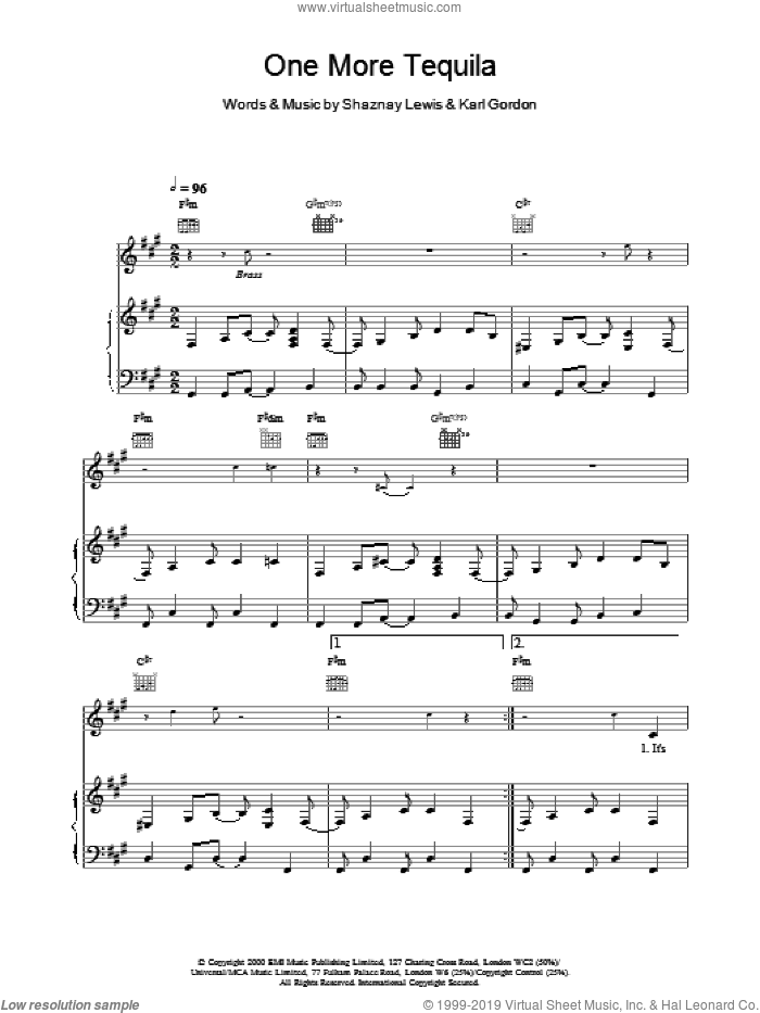 One More Tequila sheet music for voice, piano or guitar by All Saints. Score Image Preview.