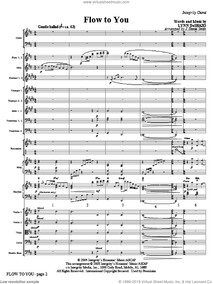 Flow To You (COMPLETE) sheet music for orchestra/band (Orchestra) by Lynn DeShazo and J. Daniel Smith, intermediate skill level