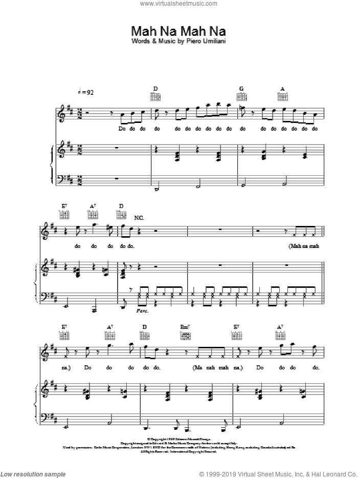 Mah Na Mah Na sheet music for voice, piano or guitar by The Muppets. Score Image Preview.