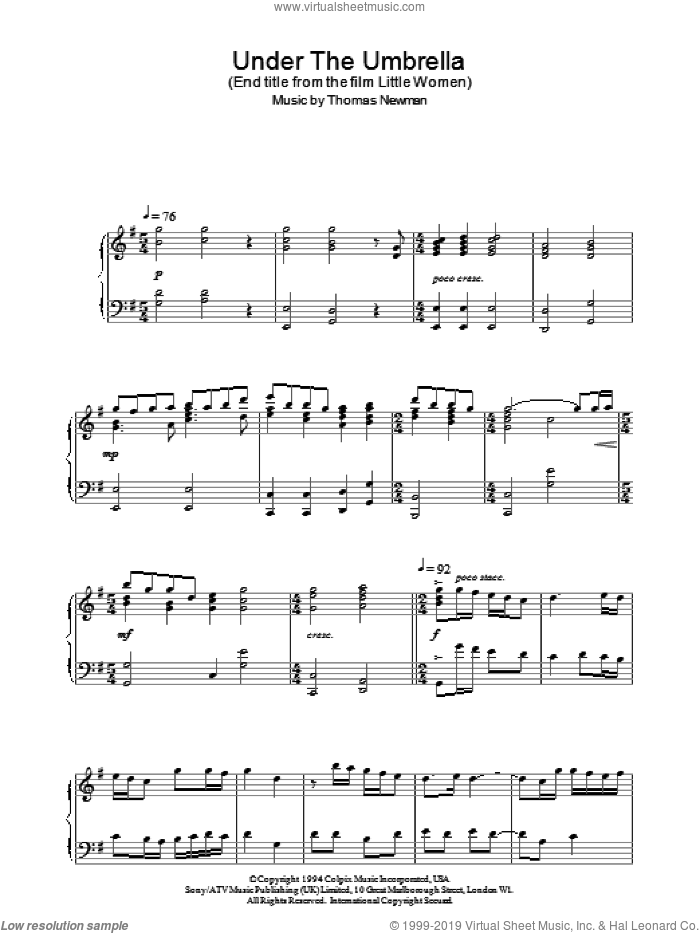 Under The Umbrella sheet music for piano solo by Thomas Newman