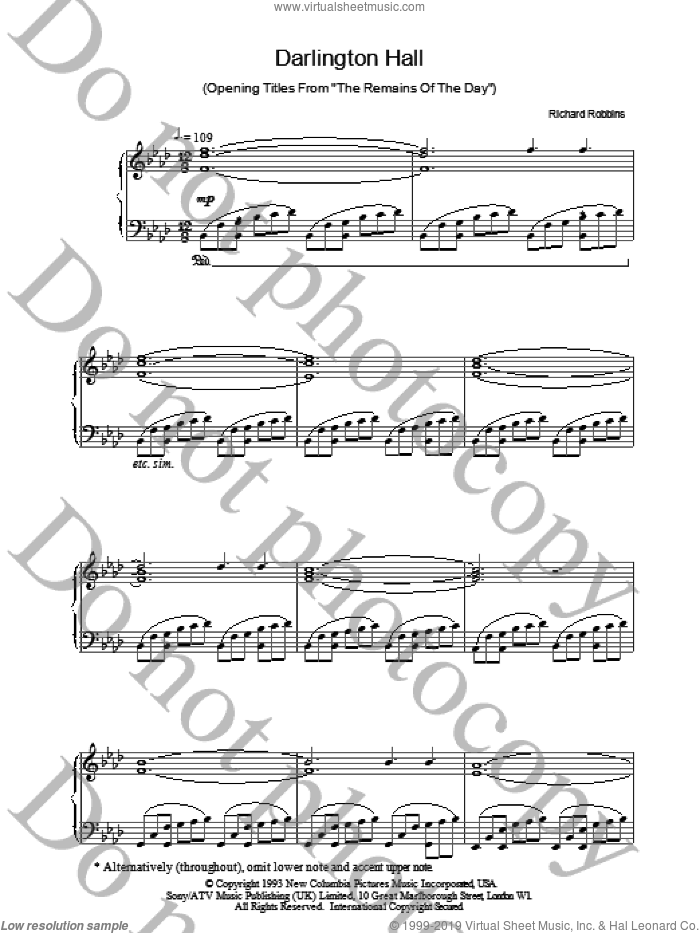 Darlington Hall sheet music for piano solo by Richard Robbins. Score Image Preview.