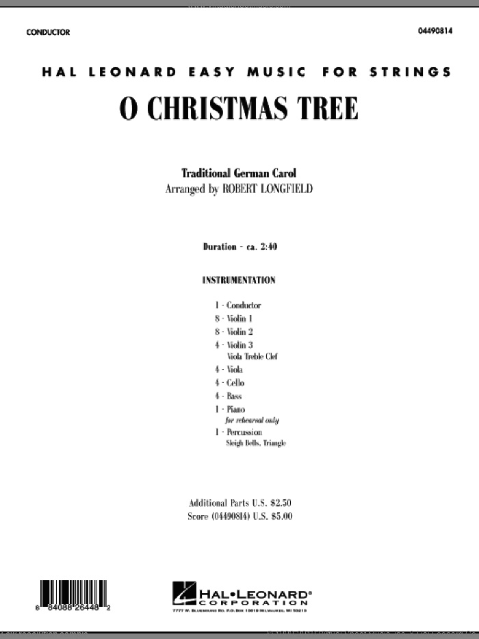 O Christmas Tree sheet music for orchestra (full score) by Robert Longfield
