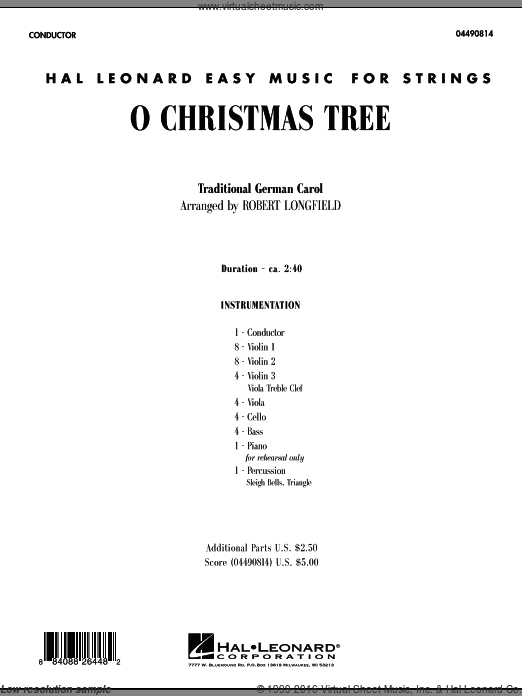 O Christmas Tree (COMPLETE) sheet music for orchestra by Robert Longfield. Score Image Preview.