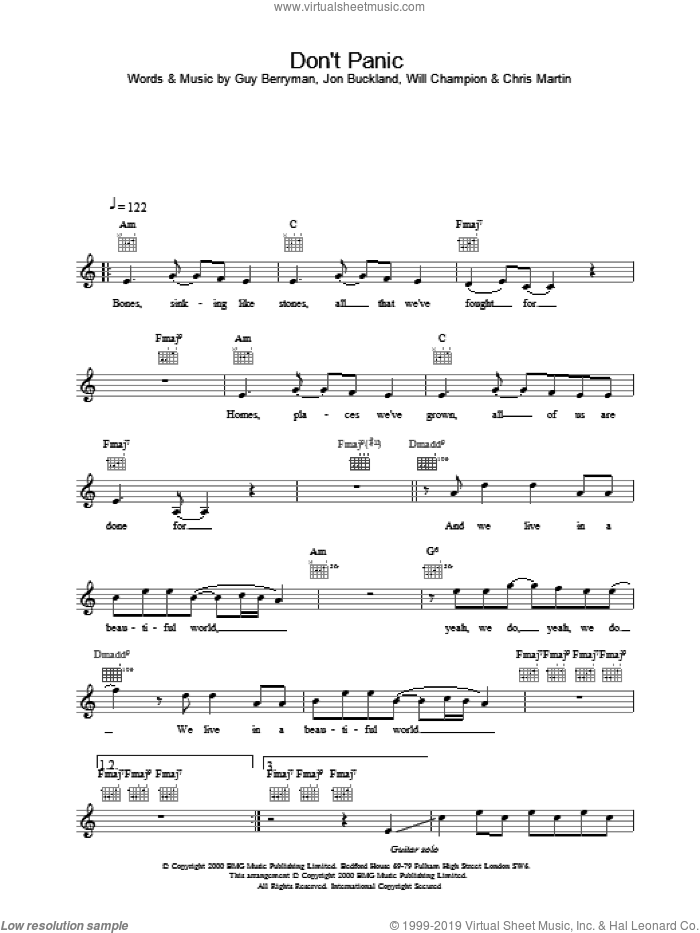 Don't Panic sheet music for voice and other instruments (fake book) by Coldplay. Score Image Preview.