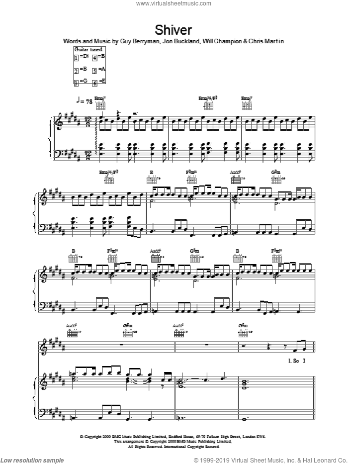 Shiver sheet music for voice, piano or guitar by Coldplay, intermediate skill level
