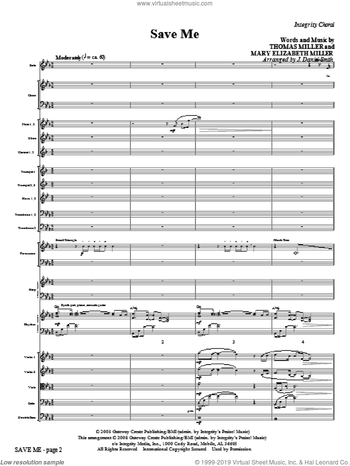 Save Me (COMPLETE) sheet music for orchestra/band (Orchestra) by Thomas Miller, Elizabeth Miller and J. Daniel Smith, intermediate skill level