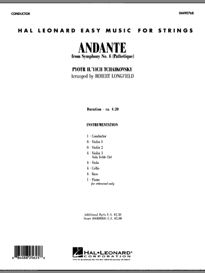 Andante (from Symphony No.6 'Pathetique') (COMPLETE) sheet music for orchestra by Pyotr Ilyich Tchaikovsky and Robert Longfield, classical score, intermediate skill level
