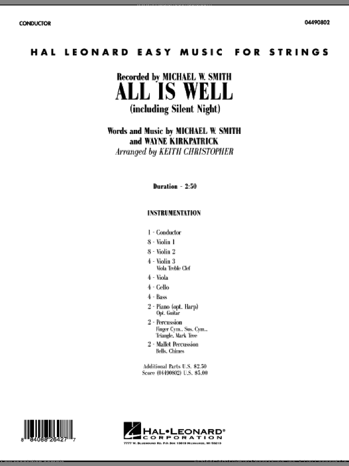 All Is Well (including Silent Night) (COMPLETE) sheet music for orchestra by Michael W. Smith, Wayne Kirkpatrick and Keith Christopher, intermediate. Score Image Preview.
