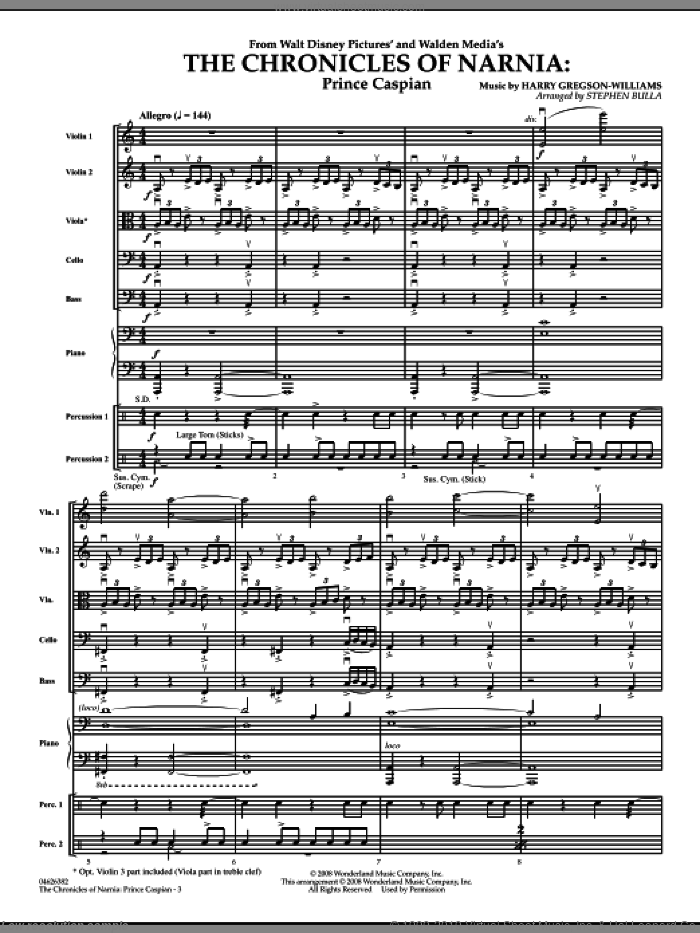 The Chronicles of Narnia: Prince Caspian (COMPLETE) sheet music for orchestra by Stephen Bulla, intermediate skill level