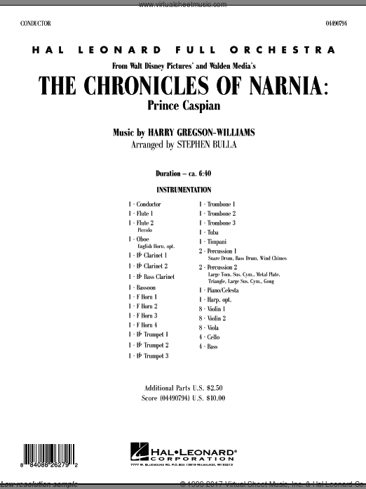 The Chronicles of Narnia: Prince Caspian (COMPLETE) sheet music for full orchestra by Harry Gregson-Williams