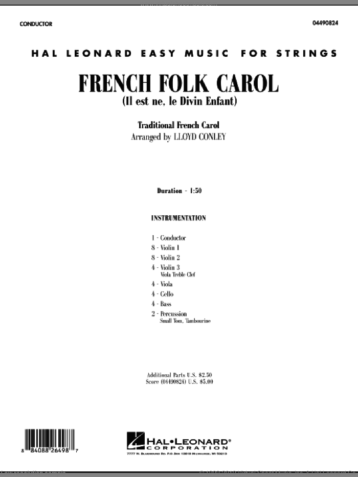 French Folk Carol sheet music for orchestra (full score) by Lloyd Conley