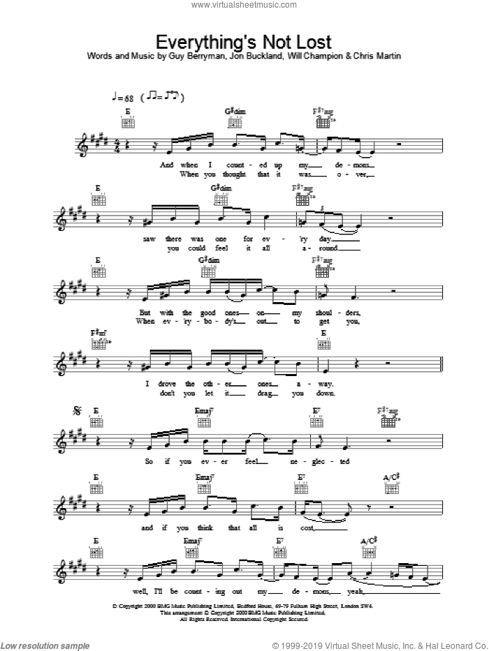 Everything's Not Lost sheet music for voice and other instruments (fake book) by Coldplay, intermediate voice. Score Image Preview.