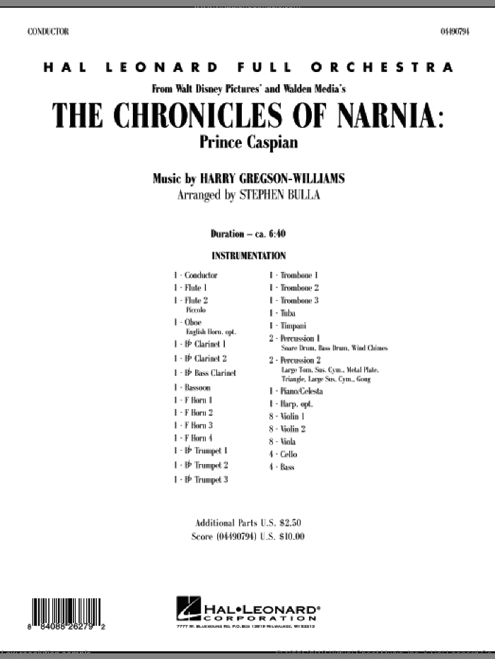 The Chronicles of Narnia: Prince Caspian (COMPLETE) sheet music for full orchestra by Harry Gregson-Williams and Stephen Bulla, intermediate. Score Image Preview.